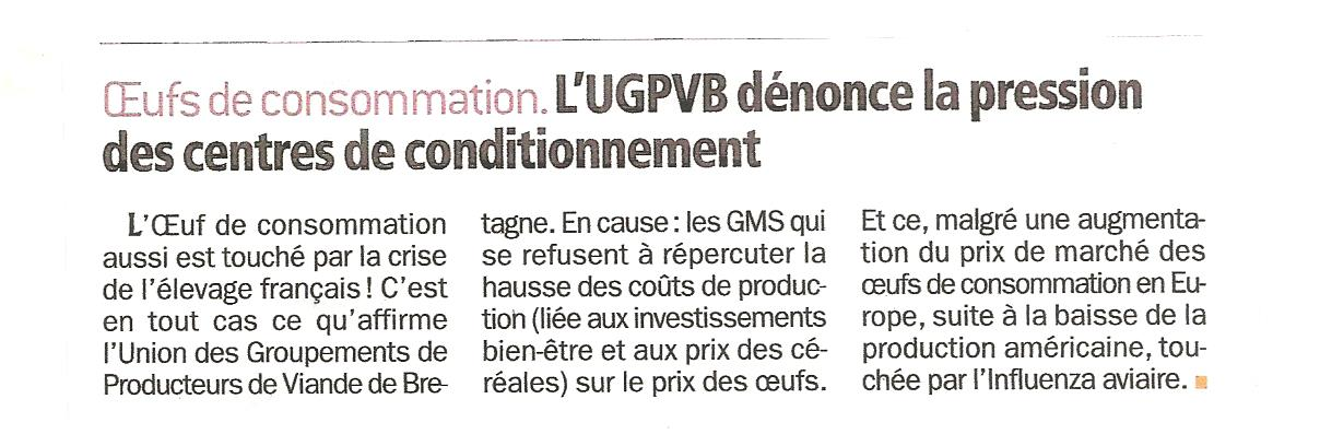 Article Filières Avicoles Octobre 2015